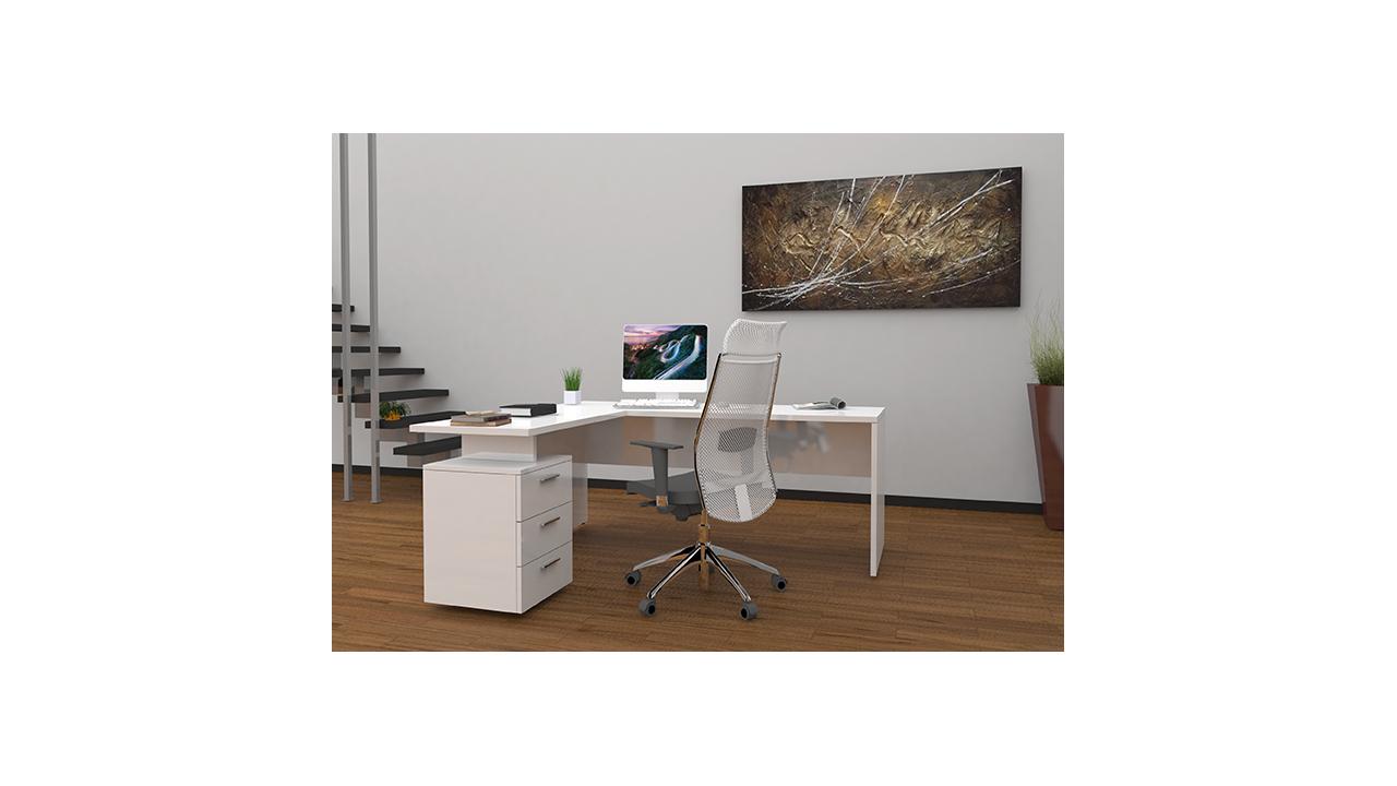Bureau design office un grand bureau avec un retour et un caisson