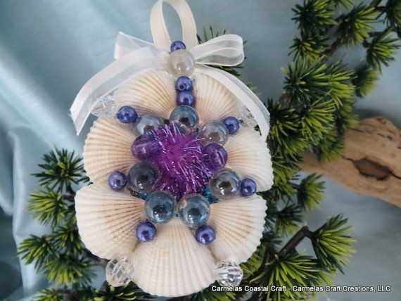 Christmas Tree Ornament Coastal Decor Ocean Shell Flower Ornament Beach Decor Beach Wedding Tropical Decor Pink Seashell Ornament
