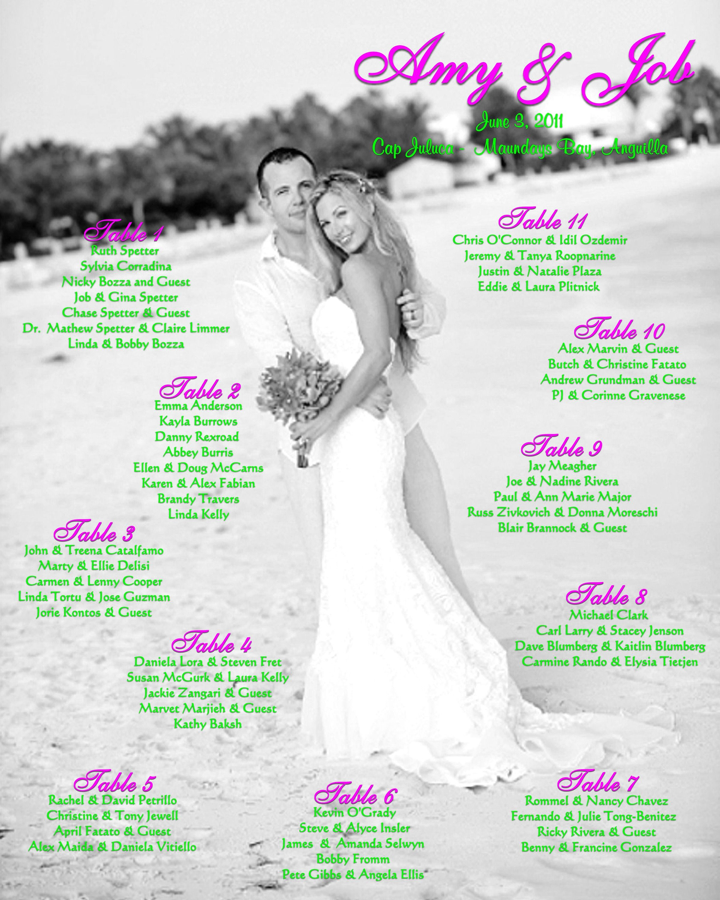This Destination Couple S Wedding Photo Was Incorporated Into The Seating Chart For Their Stateside Reception Surrounding This 13 X 19 Photo Was A 6 White