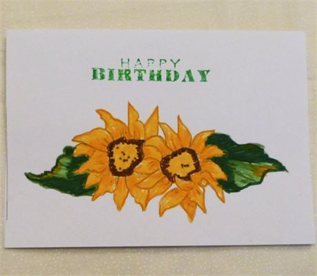 Sunflower Hand Painted Birthday Card Usa Made This Cards Measure
