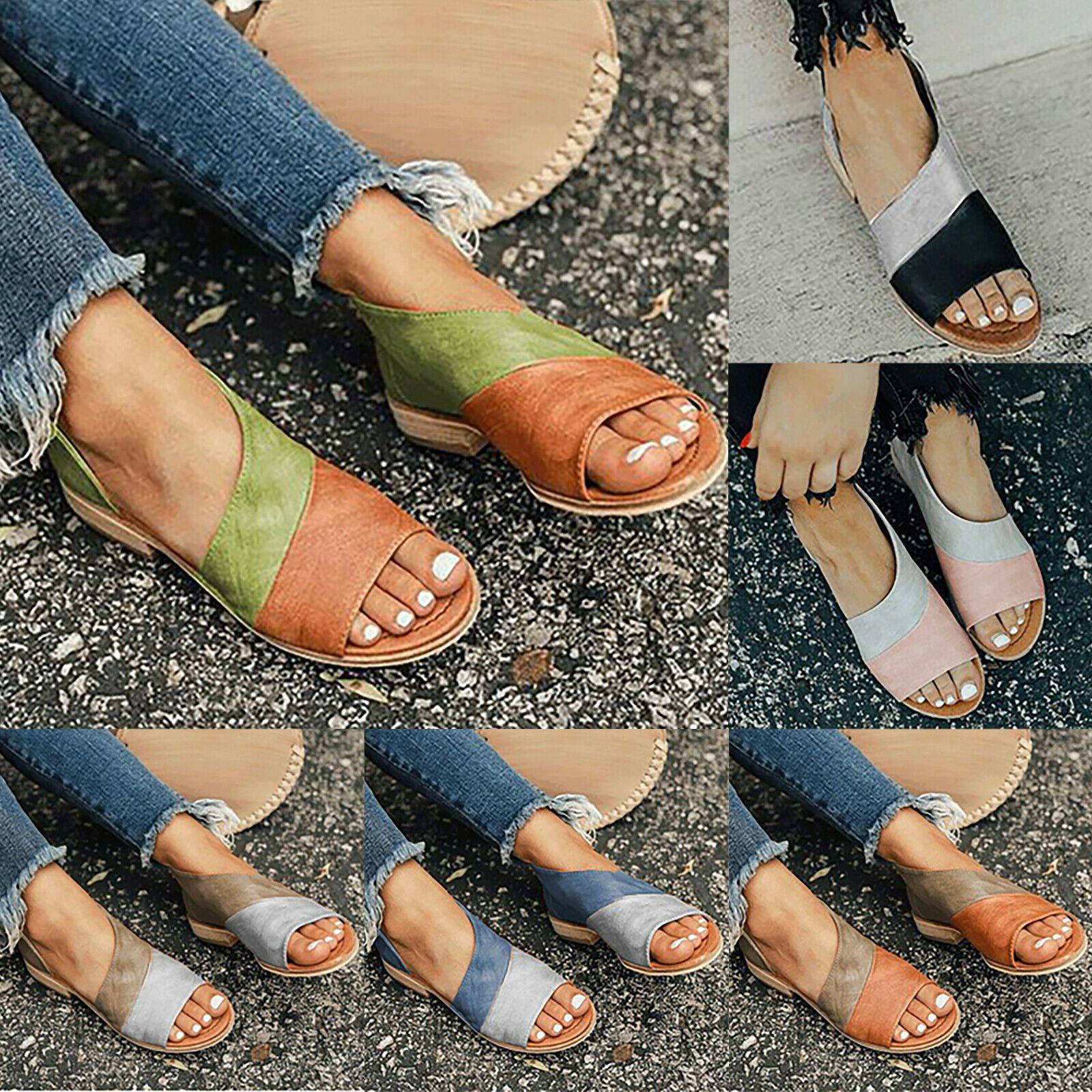 Damen Kleiner Keilabsatz Sandalen Peep Toe Flach Sandaletten