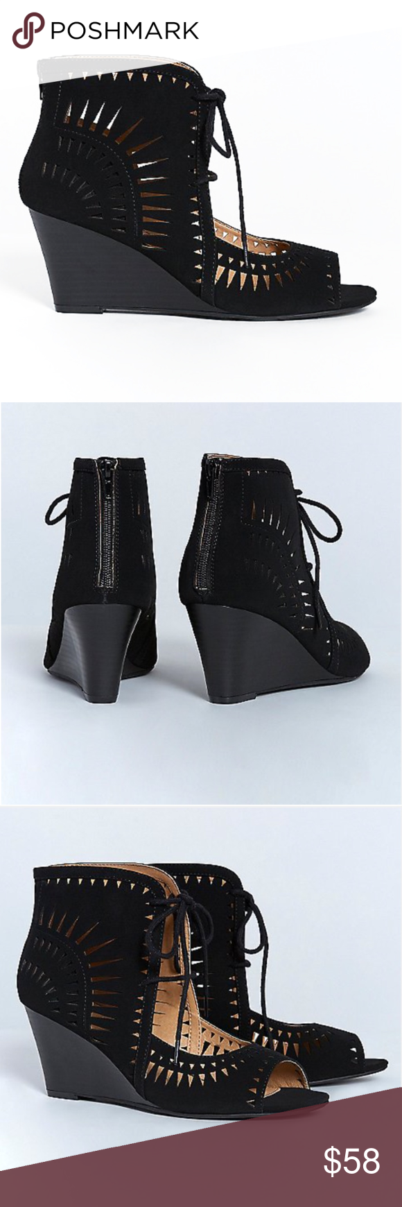 60c595fa1 ... Get a lift from these lace-up wedges with attention-grabbing cutouts in  black. Back-zip closure. Wide width, heel height is 3.5