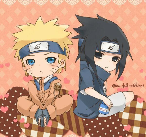 Chibi chibi chibi Naruto and Sasuke <3
