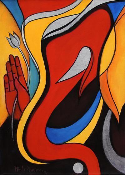 Ganesha Painting In Acrylic On Canvas Ganesha With Lotus Novica Ganesha Painting Ganesh Art Ganesha Art