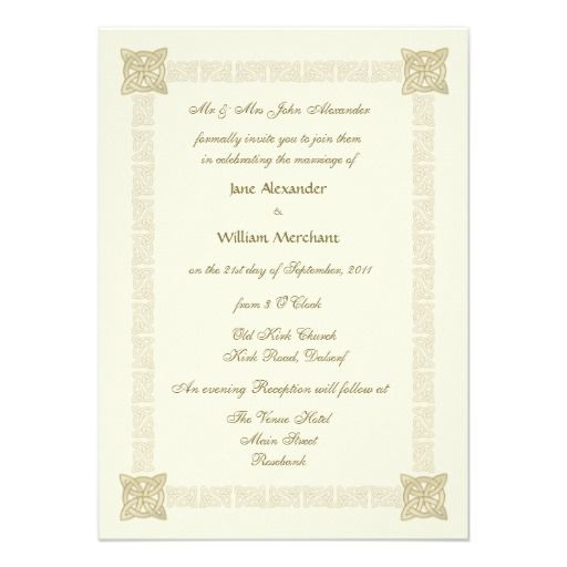 Wedding Invitation Celtic Knot Border Gold Effect Zazzle Com Celtic Wedding Invitations Wedding Invitations Celtic Wedding