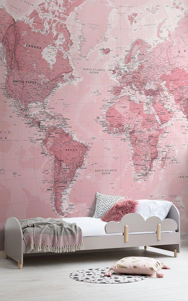 Rosa Weltkarte Wandtapete | Pink wallpaper bedroom, Pink ...