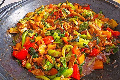 Hähnchenbrustgeschnetzeltes mit Paprika und Brokkoli aus dem Wok von schrat | Chefkoch