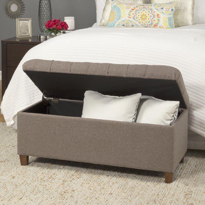 Halvorson Upholstered Flip Top Storage Bench Tufted