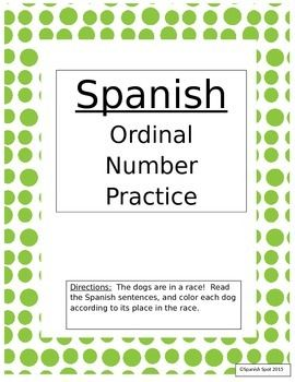 Spanish ordinal number practice doggie race i love teaching this worksheet will help your students practice their ordinal numbers and colors in spanishions ibookread Download