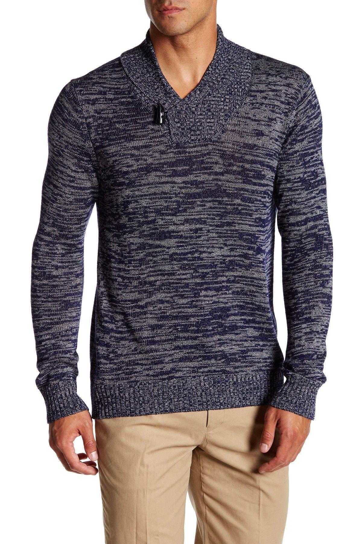 Marl Knit Shawl Collar Pullover