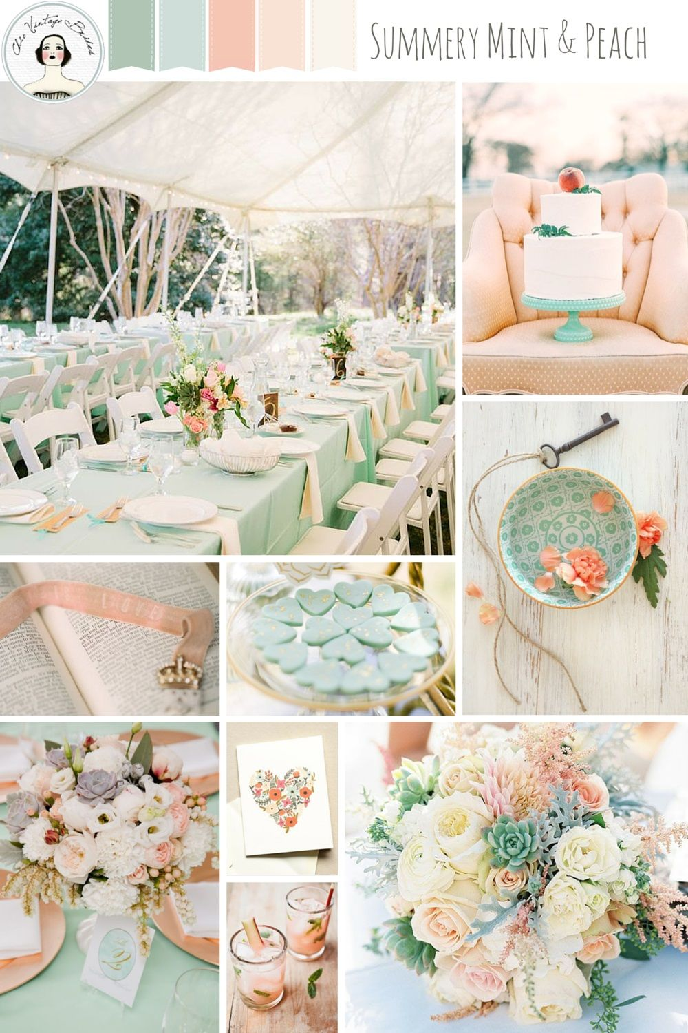 A romantic mint peach wedding inspiration board peach romantic summery mint and peach a romantic colour palette for a relaxed wedding junglespirit Images