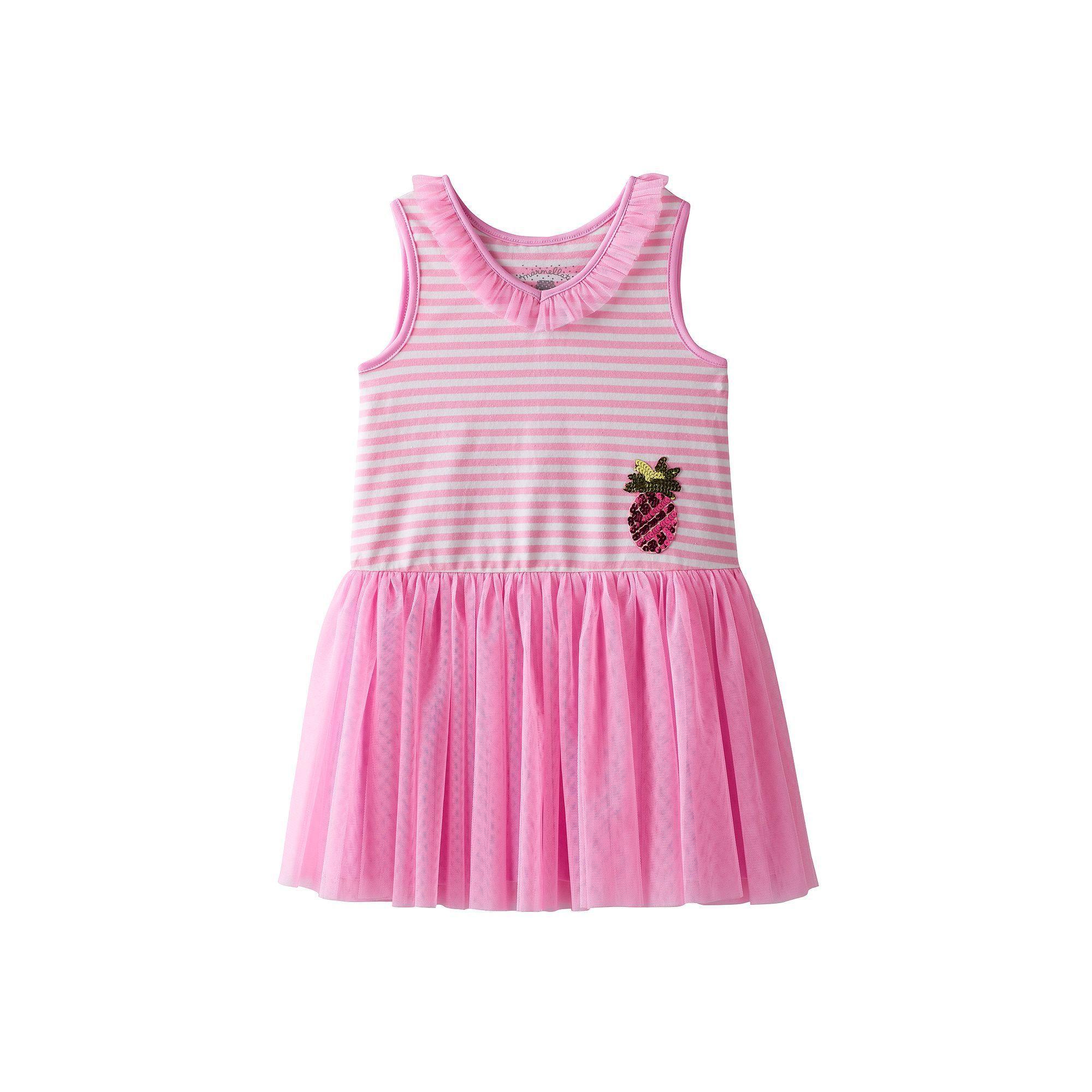 Girls 4 6x Marmellata Classics Pineapple & Striped Tutu Dress