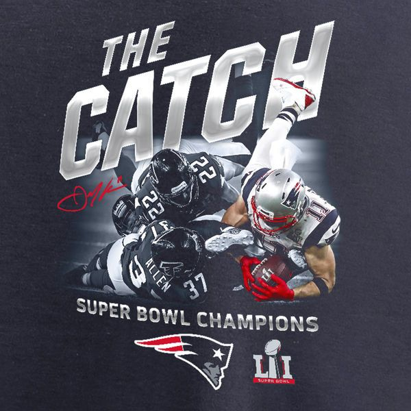 63ad350ccdc Julian Edelman New England Patriots Pro Line by Fanatics Branded Super Bowl  LI Champions The Catch T-Shirt - Navy