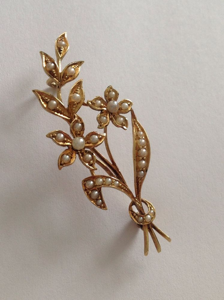 720c5df84 Charming Fine Victorian 15ct Gold Floral Spray Seed Pearl Set Brooch ...