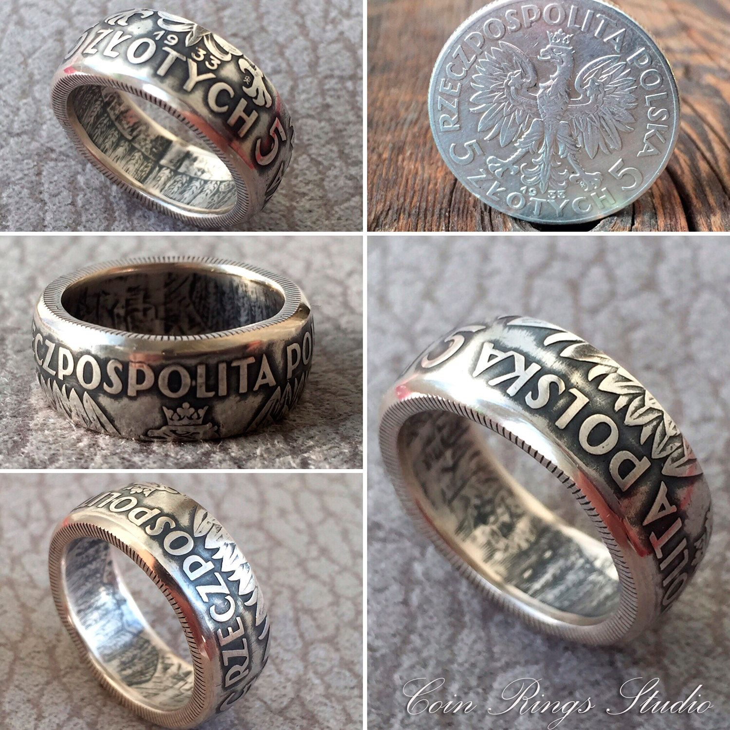Polish Silver Coin Ring Poland 5 Zlotych Rings from Coins