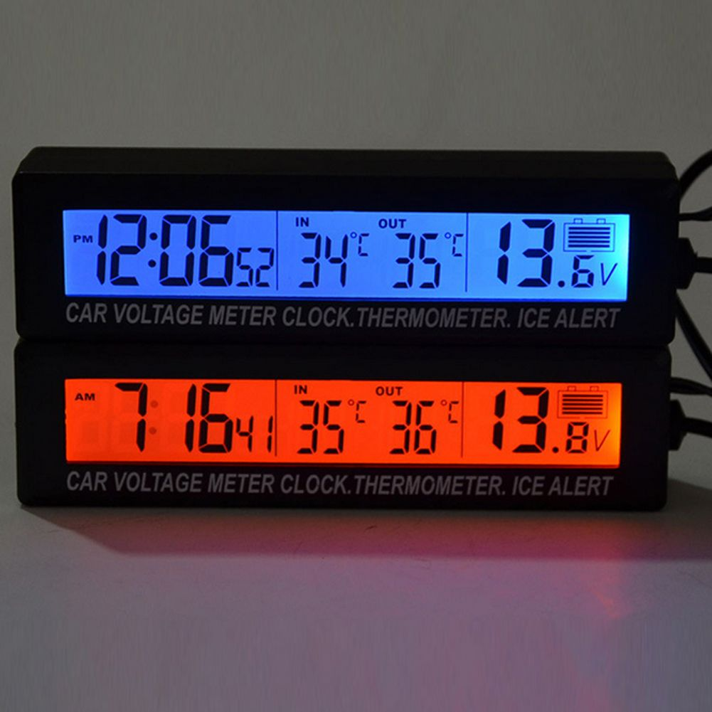 Digital LCD Car Clock Weather Temperature Thermometer Hygrometer Voltage Alarm