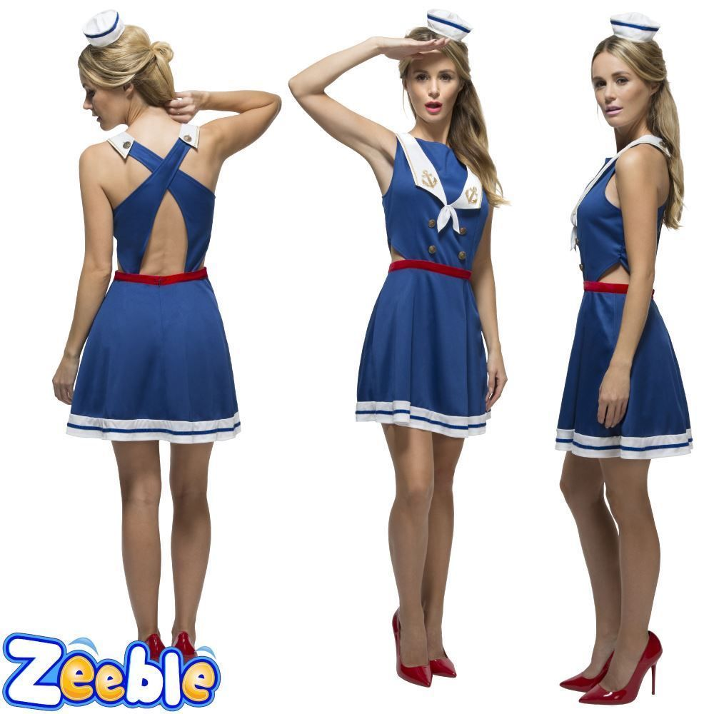 Womens Sexy Sailor Costume Adults Nautical Fancy Dress Ladies Navy ...