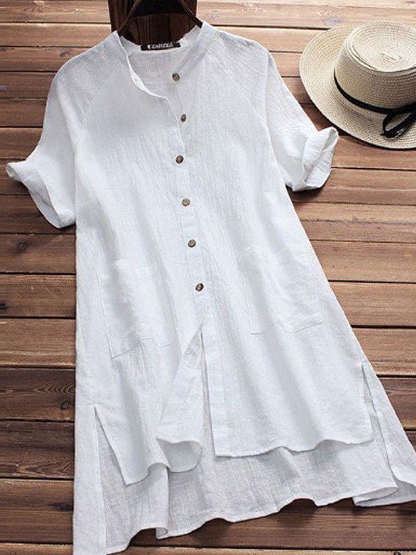 4a28c517464 Spring Summer Cotton Women Round Neck Asymmetric Hem Patch Pocket Single  Breasted Plain Short Sleeve Blouses - Cathybuy.com