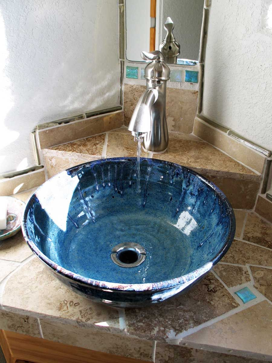 Blue Pottery Vessel Sink | Corner vanity, Vanity sink and Vessel sink