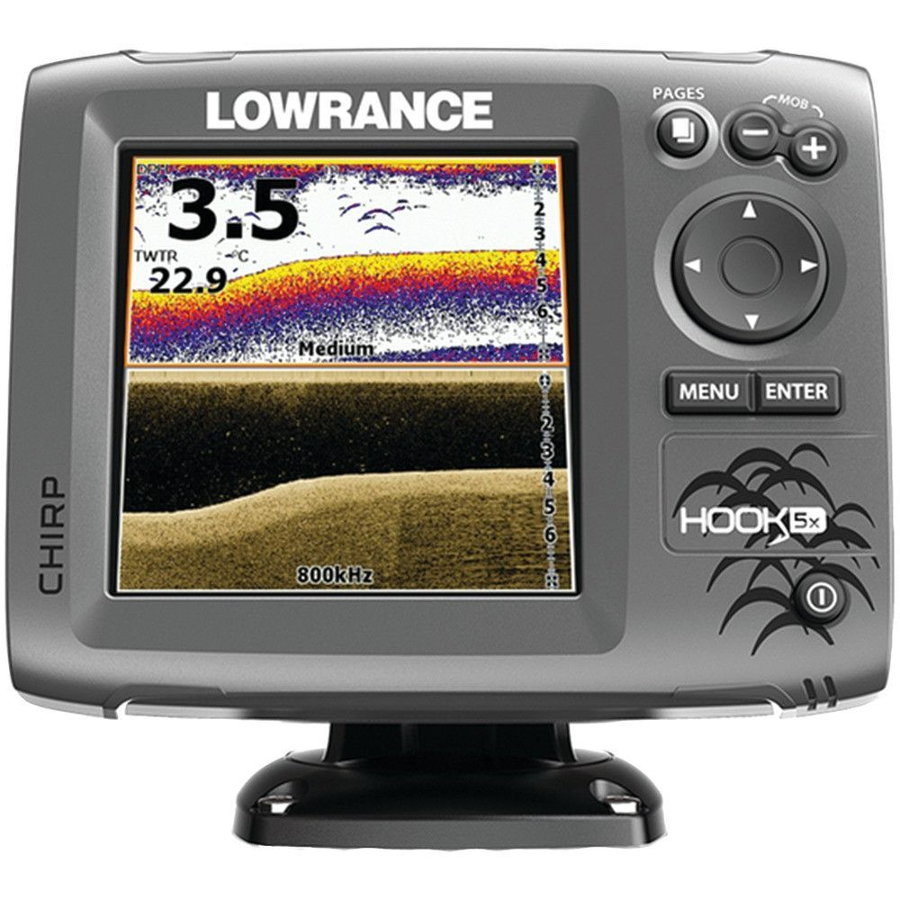 Lowrance Hook5x Mid And High And Downscan Fishfinder