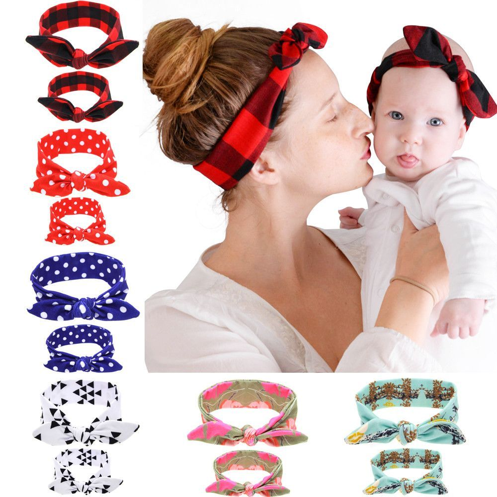 2PC/Set Mom Baby Rabbit Ears Hair Ornaments Tie Bow