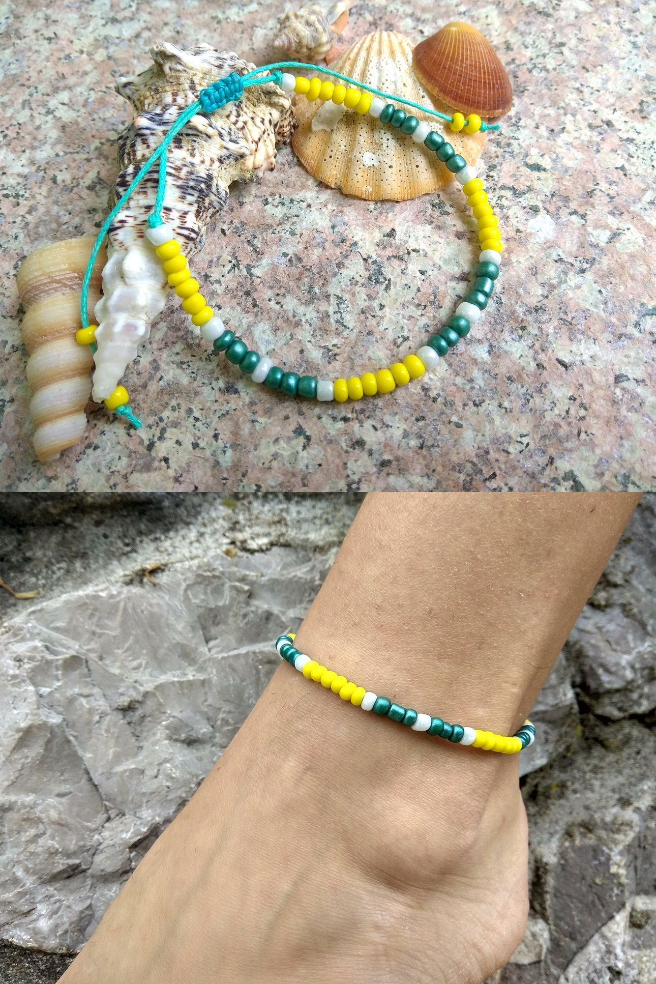 boho white fullxfull listing pineapple il surfer jtbi beachy ankle bracelet beaded waterproof anklet
