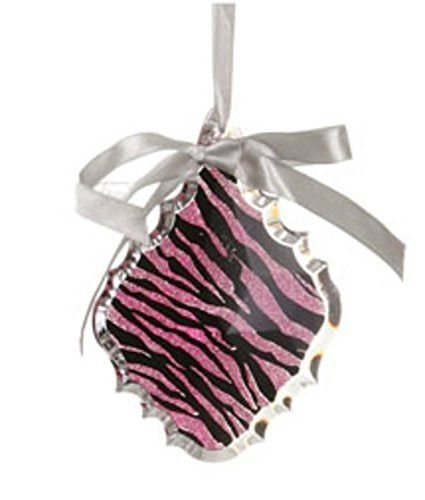 Felices Pascuas Collection 5.5 inch Glittered Magenta Pink Zebra Print Teardrop Prism Christmas Ornament