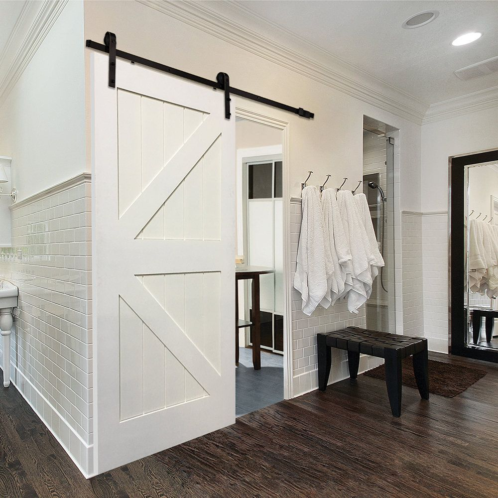 Merveilleux Single Stile And Rail K Planked MDF 4 Panel Interior Barn Door With Hardware
