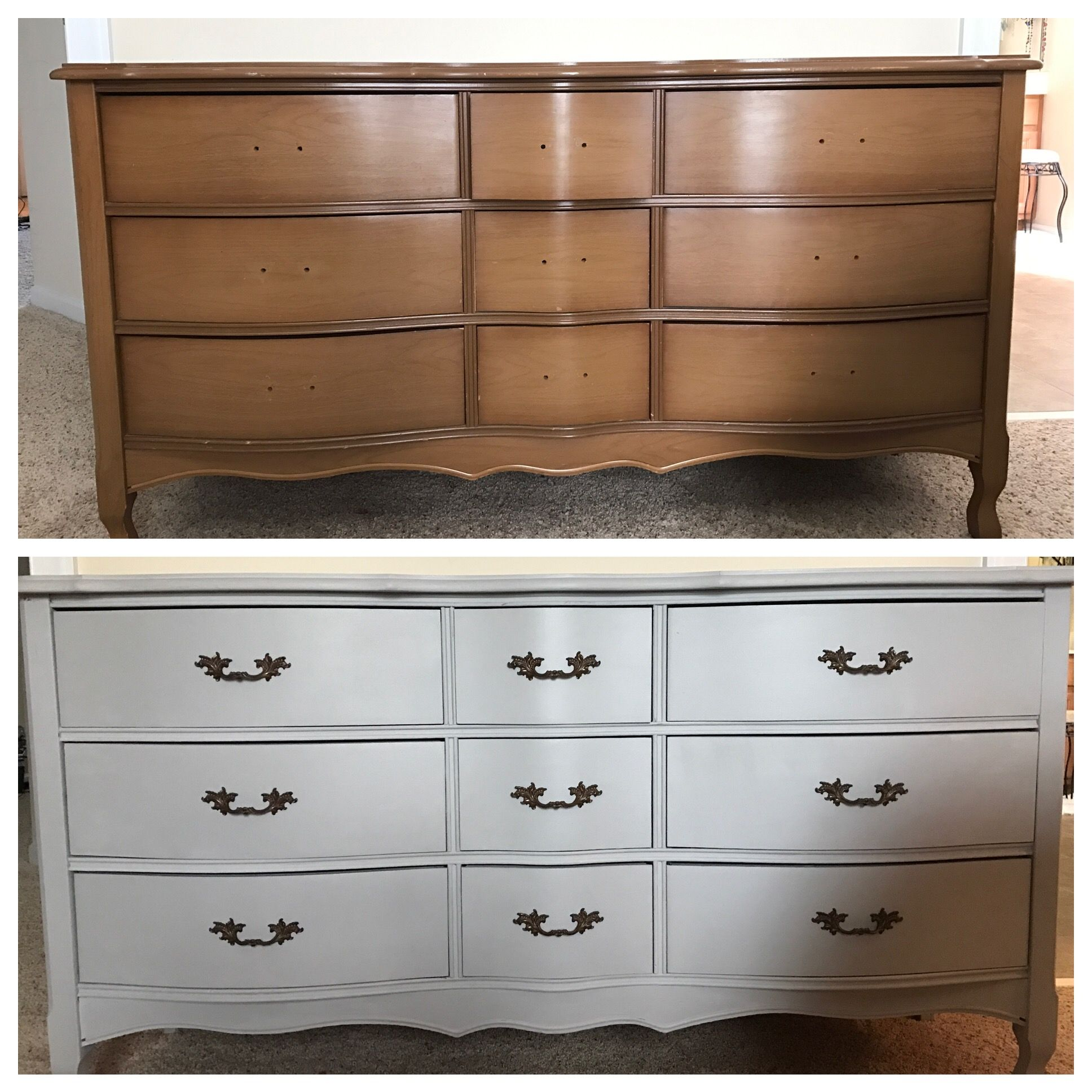 Before And After Rustoleum Aged Gray Chalk Paint From Home Depot Bedroom Furniture Redo