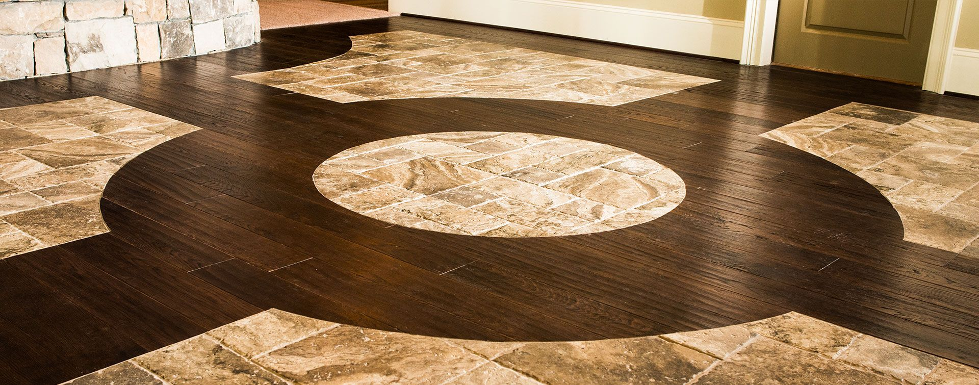 Wood tile flooring patterns google search laundry for Tile and hardwood floor