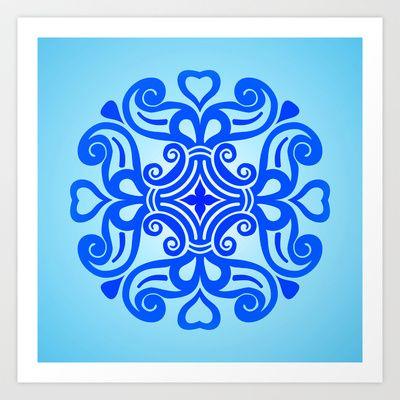 HUNGARIAN ORNAMENTS - Femininity mandala in blue Art Print by HuMan by Eda Design - $16.00