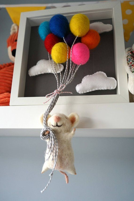 Nadel gefilzt Tier, Filz, Tiere, Puppe, Babymobile, Shadow-Box, Kinderzimmer, Heißluftballon, Tiere, Mobile Bebe Filz #filzen