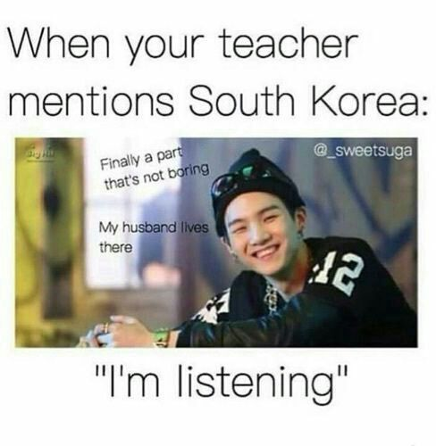 Photo of My friends when I mention South Korea: * choke * * turn around * * go away * – Carola