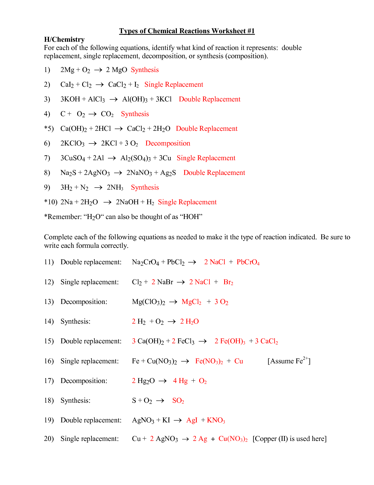 Types Of Chemical Reactions Worksheets Answer Key