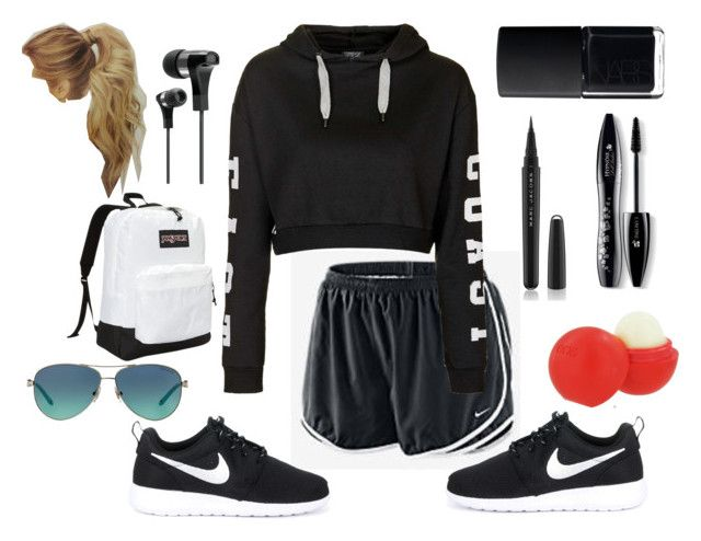 """""""Morning Jog"""" by lesmis-love ❤ liked on Polyvore featuring NIKE, Topshop, JanSport, Tiffany & Co., The Sharper Image, Marc Jacobs, Lancôme, Eos and NARS Cosmetics"""