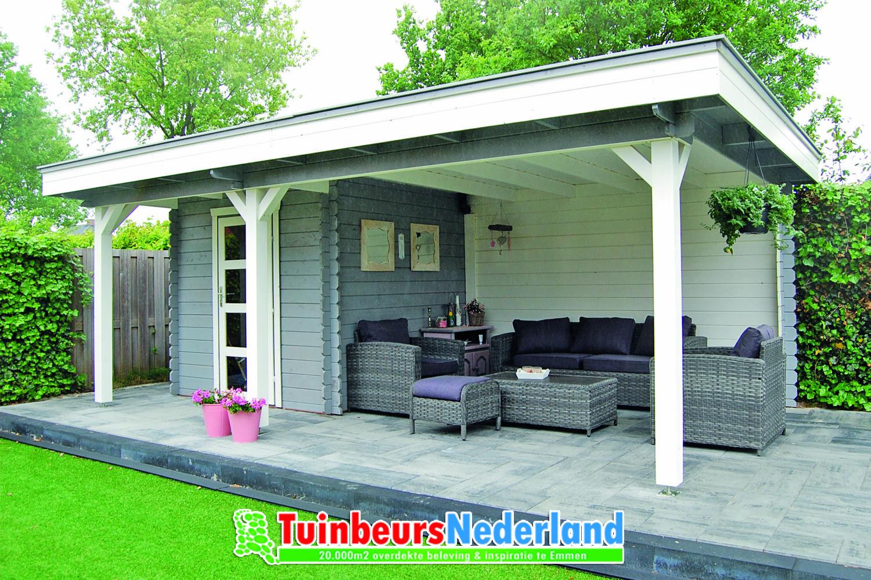 Blokhut plat dak met luifel. Deze blokhut is ook in allerlei andere ...