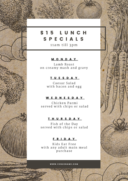 15 Lunch Specials Menu Template On Recycled Texture