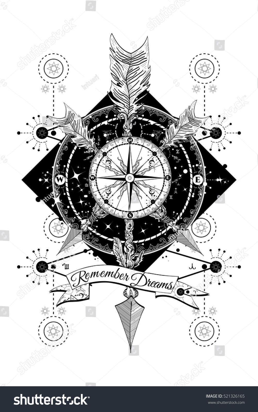 Rose Compass And Crossed Arrows Tattoo Boho Style Adventure