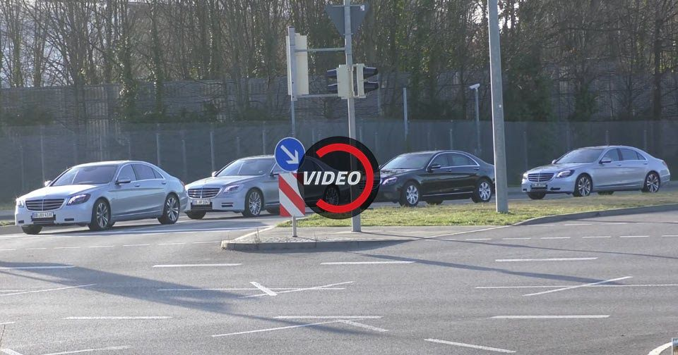 Facelifted Mercedes S-Classes Test In Convoy Before April Debut #Mercedes #Mercedes_S_Class