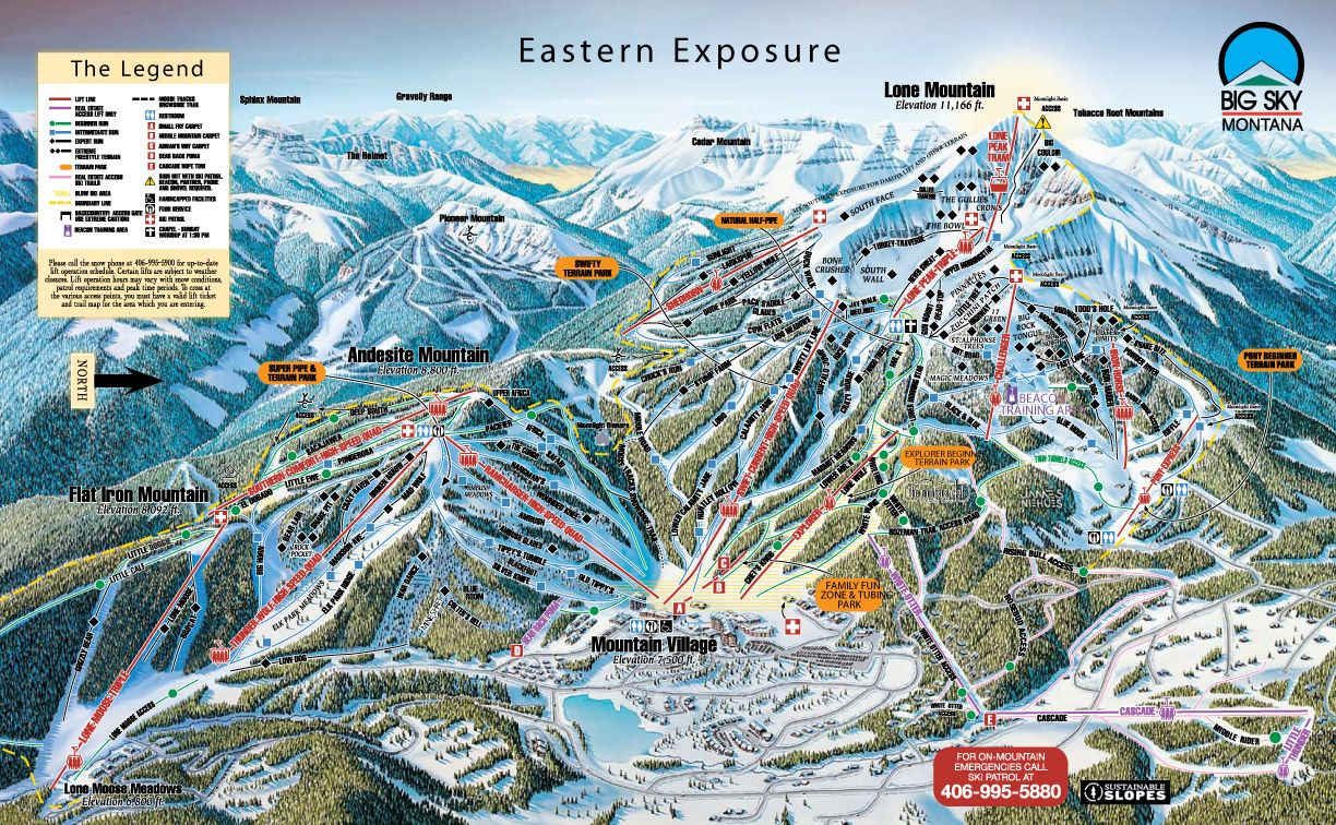 Big Sky Montana Ski Map Trail Map Click To Enlarge Ski Areas