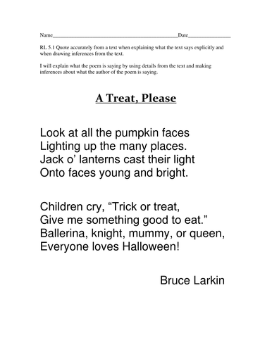 free worksheet understanding authors voice within poetry - Good Halloween Poems