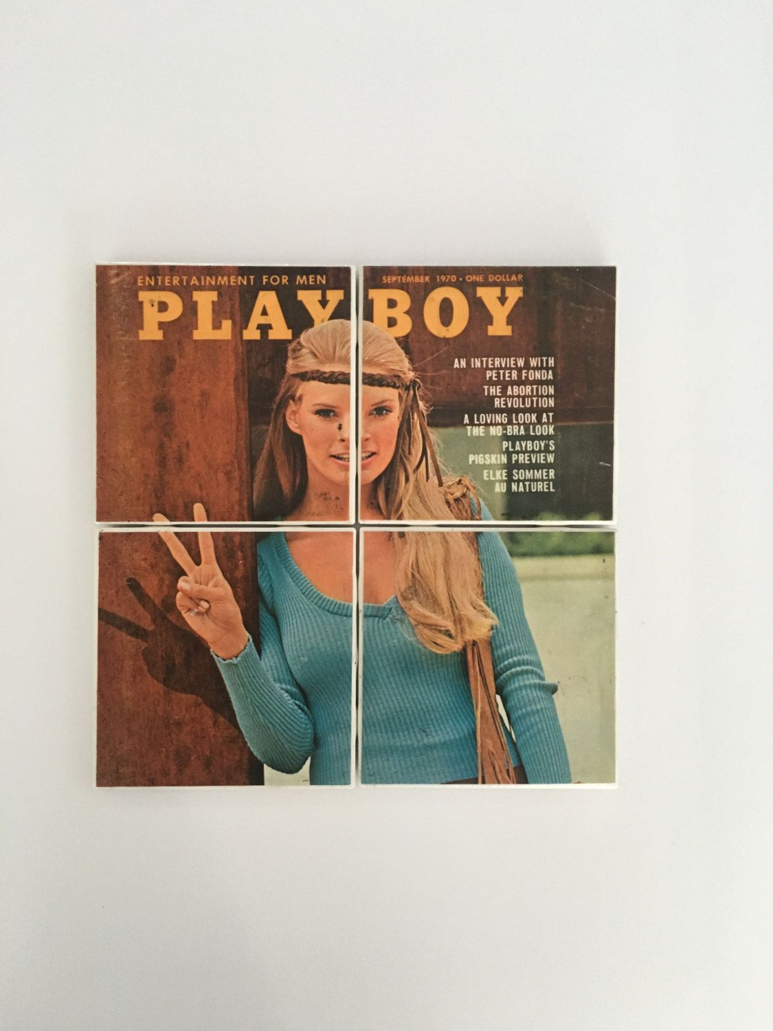 Vintage Old PLAYBOY Hippie Peace Sign Mens Magazine from Sept 1970 on Set of 4 Ceramic Heat Resistant Drink Beverage Coasters + Felt Backing by UpcyclingIt on Etsy