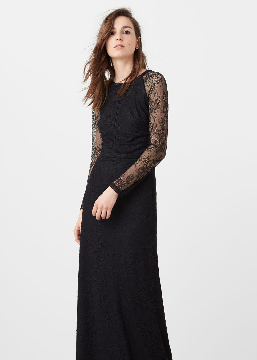Lace detail gown - Women  Mango United Kingdom  Fashion, Maxi