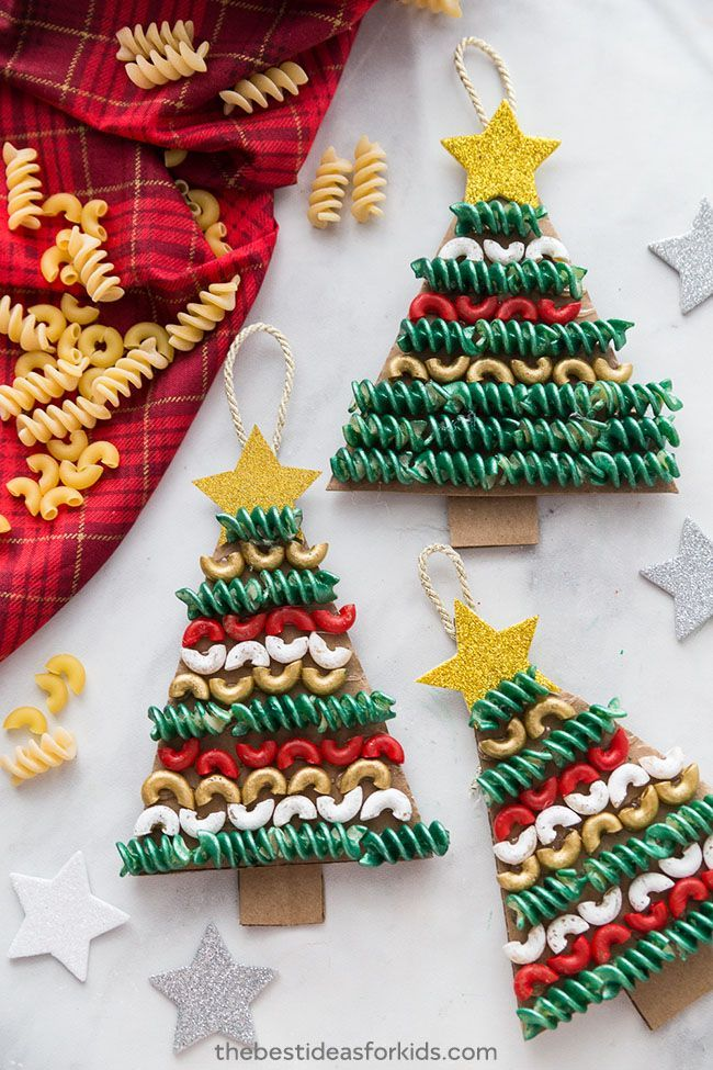 Photo of Christmas Tree Pasta and Macaroni Craft,  #Christmas #Craft #MACARONI #Pasta #Tree