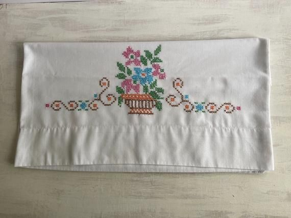 Old Fashioned Cross Stitch Embroidered Pillowcase