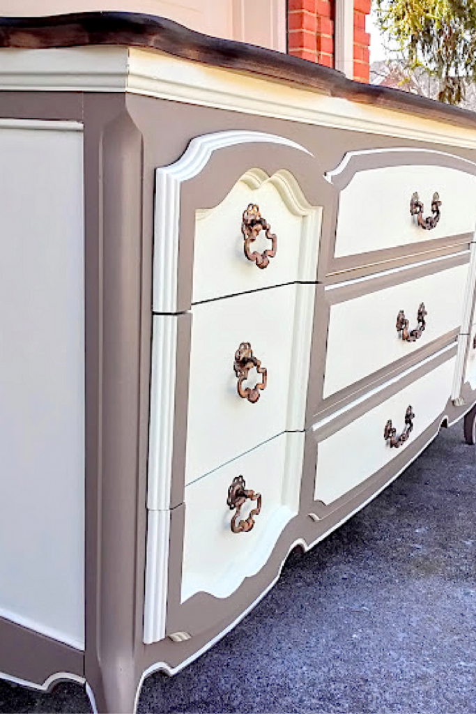 Two Tone French Provincial Dresser Diy Painted French Provincial Dresser French Provincial Dresser Makeover Bedroom Furniture Redo French Painted Furniture