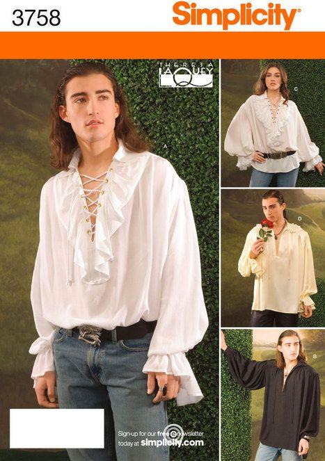 Renaissance Shirt Pattern : renaissance, shirt, pattern, Dreamy, Shirt, Pattern,, Ruffle, Simplicity, Blouse, Pirate, Puffy, Sleeves, Renaissance, Shirt,