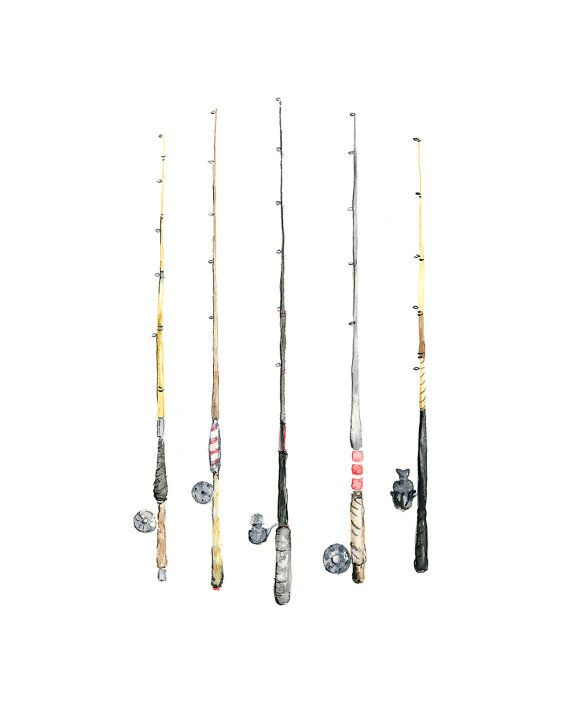 8x10 Fishing Rods Watercolor Giclee Print By Eastashleystudio