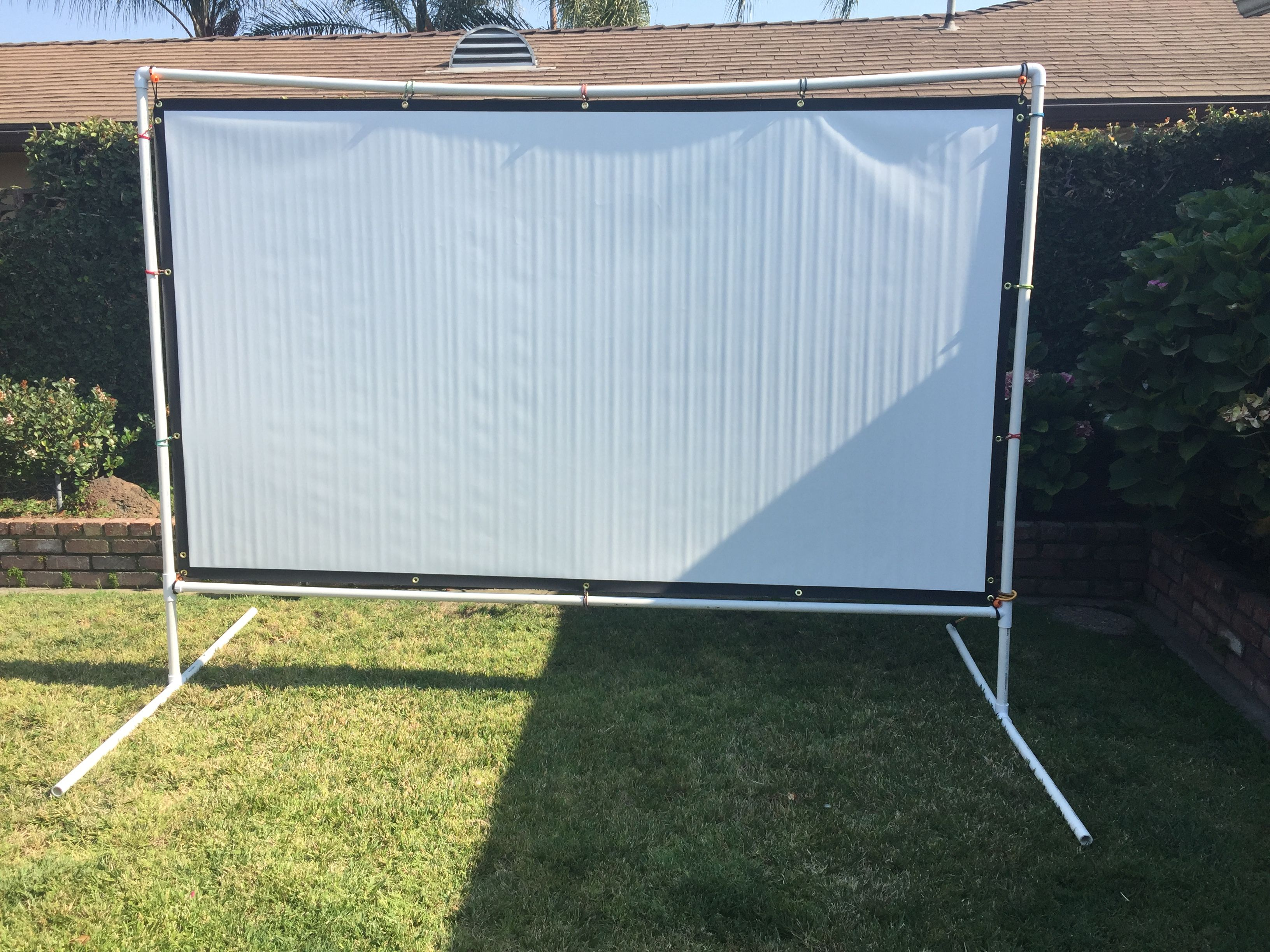 120 Projector Screen With Pvc Frame Projector Screen Diy Diy Outdoor Movie Screen Outdoor Projector Screen Diy