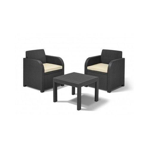 Garden Patio 2 Seater Furniture Bistro Set In Graphite With Cream